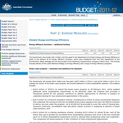Budget Measures 2011-12 - Budget Paper No. 2 - Part 2: Expense Measures - Climate Change and Energy Efficiency