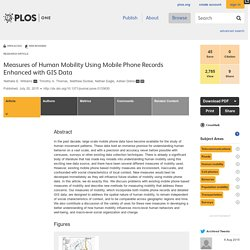 Measures of Human Mobility Using Mobile Phone Records Enhanced with GIS Data
