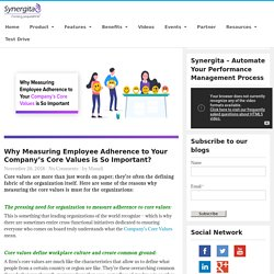 Why Measuring Employee Adherence to Your Company's Core Values is So Important? - Synergita Blogosphere