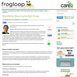 Social Media: Measuring the Right Things - Online Fundraising, Advocacy, and Social Media - frogloop