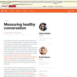 Measuring healthy conversation