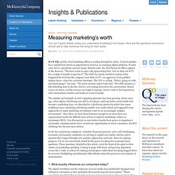 Measuring marketing's worth - McKinsey Quarterly - Marketing & Sales - Digital Marketing