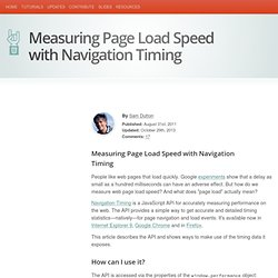 Measuring Page Load Speed with Navigation Timing