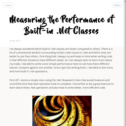 Measuring the Performance of Built-in .Net Classes