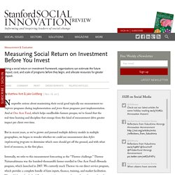 Measuring Social Return on Investment Before You Invest