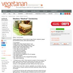 "Meatless ""Meatloaf"" Sandwiches Recipe"