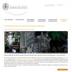 La mécanique du futur et la recherche en sciences mécaniques