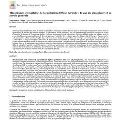Mécanismes et maitrise de la pollution diffuse agricole: le cas du phosphore et sa portée générale