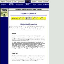 Mechanical Material Properties - Engineer's Handbook