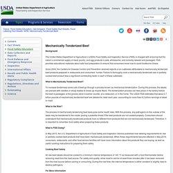 USDA 20/05/16 Mechanically Tenderized Beef