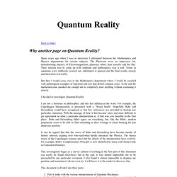 Quantum Mechanics - Interpretations and Reality