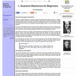 Quantum Mechanics for Beginners; a fun-filled Introduction.