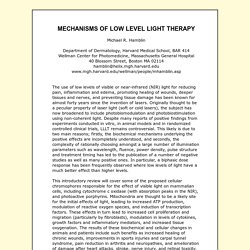 MECHANISMS OF LOW LEVEL LIGHT THERAPY