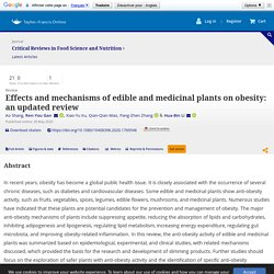 Effects and mechanisms of edible and medicinal plants on obesity: an updated review: Critical Reviews in Food Science and Nutrition: Vol 0, No 0