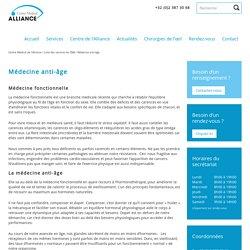 Médecine anti-âge - Centre Médical de l'Alliance