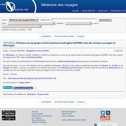 MEDECINE DES VOYAGES 10/11/16 Premiers cas de grippe aviaire hautement pathogène A(H5N8) chez des oiseaux sauvages en Allemagne