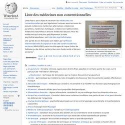 Liste des médecines non conventionnelles