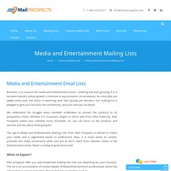 Media and Entertainment Mailing Lists