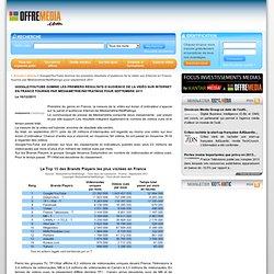 Google/YouTube domine les premiers résultats d'audience de la vidéo sur Internet en France fournis par Médiamétrie//NetRatings pour septembre 2011