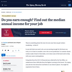 Median income: Do You Earn Enough? Find out the annual median income for your profession