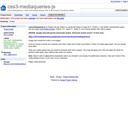 css3-mediaqueries-js - Project Hosting on Google Code