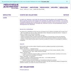 Médiathèque de Bron - Espace pro - charte - CHARTE DES COLLECTIONS