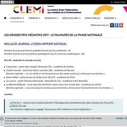 Les grands Prix Médiatiks 2017 : le palmarès de la phase nationale- CLEMI