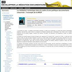 La médiation numérique dans le cadre d'une politique documentaire raisonnée : l'exemple de la MIOP