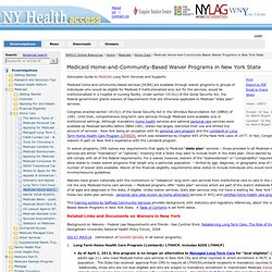 Medicaid Home-and-Community-Based Waiver Programs in New York State - New York Health Access