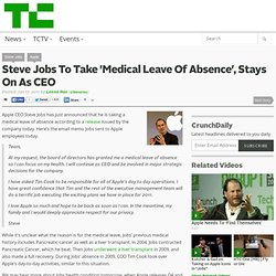 Steve Jobs To Take 'Medical Leave Of Absence', Stays On As CEO