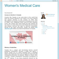 Women's Medical Care: Access to Abortion in Canada