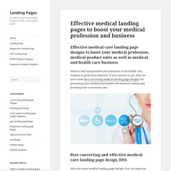 medical landing page designs to boost your medical profession