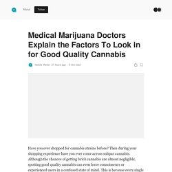 Medical Marijuana Doctors Explain the Factors To Look in for Good Quality Cannabis