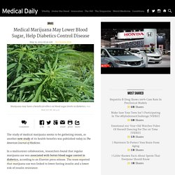 Medical Marijuana May Lower Blood Sugar, Help Diabetics Control Disease