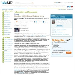 Most Docs OK With Medical Marijuana: Survey