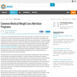 Common Medical Weight Loss Meridian Programs