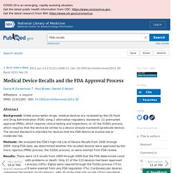 Medical Device Recalls and the FDA Approval Process - PubMed