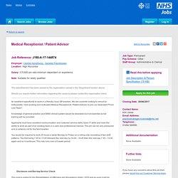Medical Receptionist / Patient Advisor