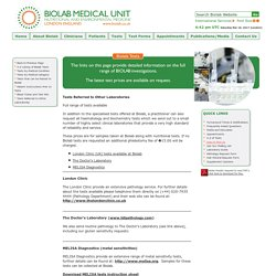 Biolab Medical Unit London UK - Tests Referred to Other Laboratories