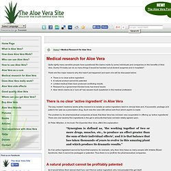 Medical Research for Aloe Vera