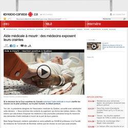 Aide médicale à mourir : des médecins exposent leurs craintes