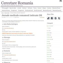 Jurnale medicale romanesti indexate ISI