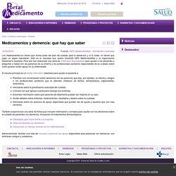 Portal del Medicamento (Contenido:Medicamentos y demencia: qué hay que saber)