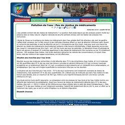 Pollution de l'eau : Peu de résidus de médicaments - UFC-Que Choisir de Carcassonne et Narbonne (Aude)