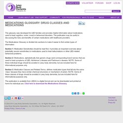 Medications Glossary: Drug Classes and Medications