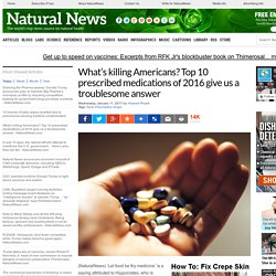 What's killing Americans? Top 10 prescribed medications of 2016 give us a troublesome answer – NaturalNews.com
