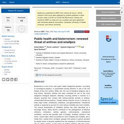 Medicina 2007, 43(4), 278; Public health and bioterrorism: renewed threat of anthrax and smallpox
