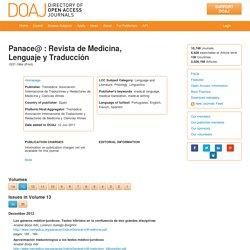 Panace@ : Revista de Medicina, Lenguaje y Traducción, Volume 13, Issue 36