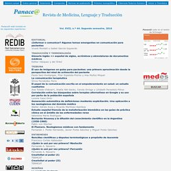 Panace@ - Revista de Medicina, Lenguaje y Traducción