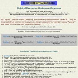 Medicinal Mushrooms - Readings & References